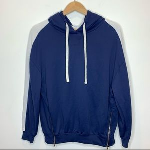 IRO. Jeans Hoodie Sweater with zipper details blue